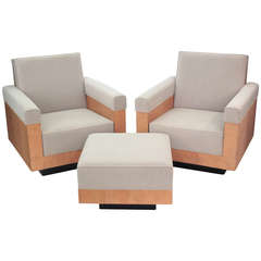 Pair of Club Chairs in French Ash with Matching Ottoman