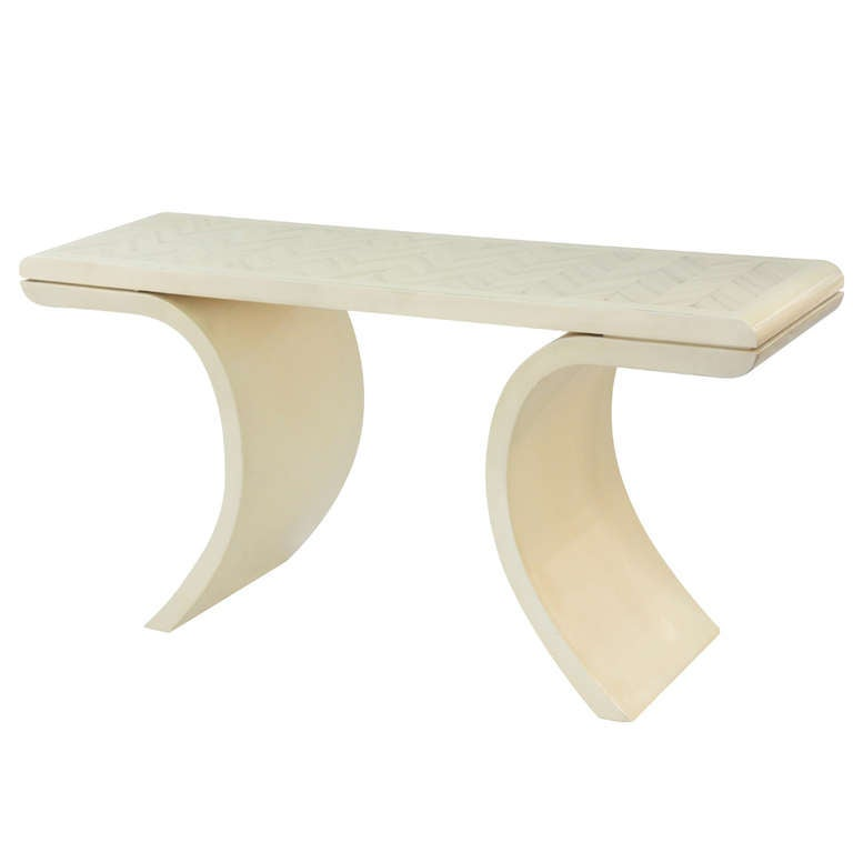 Sculptural Console Table with Faux Bone Lacquered Top