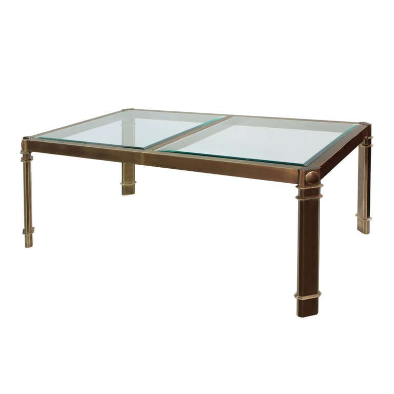 Dining Table in Bronze with Inset Glass Tops by Mastercraft