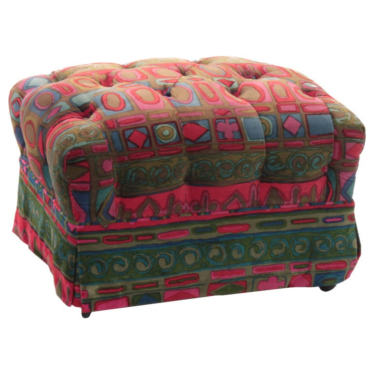 "Tufted Ottoman in ""Caravan"" Fabric by Jack Lenor Larsen For Sale"