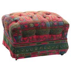 "Tufted Ottoman in ""Caravan"" Fabric by Jack Lenor Larsen"
