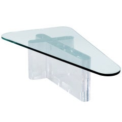 Sculptural Thick Lucite Coffee Table by Lion in Frost