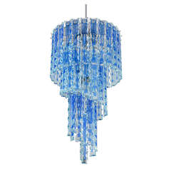 Chandelier with Blue and Clear Etched Glass Panels