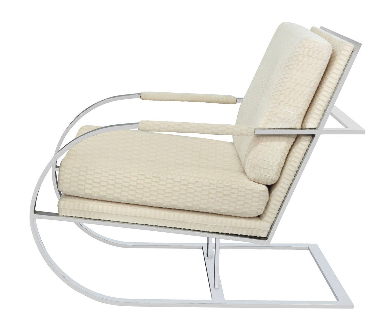 Mid-Century Modern Cantilevered Lounge Chair with Frame in Chrome by Milo Baughman For Sale