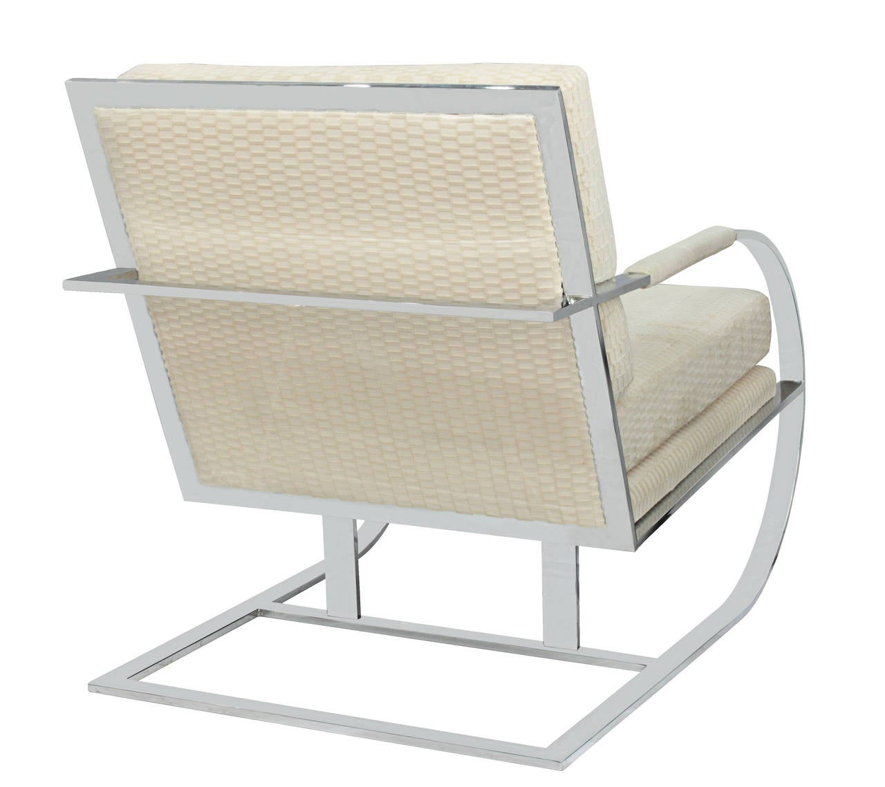 American Cantilevered Lounge Chair with Frame in Chrome by Milo Baughman For Sale