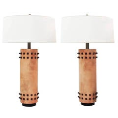 Pair of Chic Table Lamps Wrapped in Leather with Spike Studs