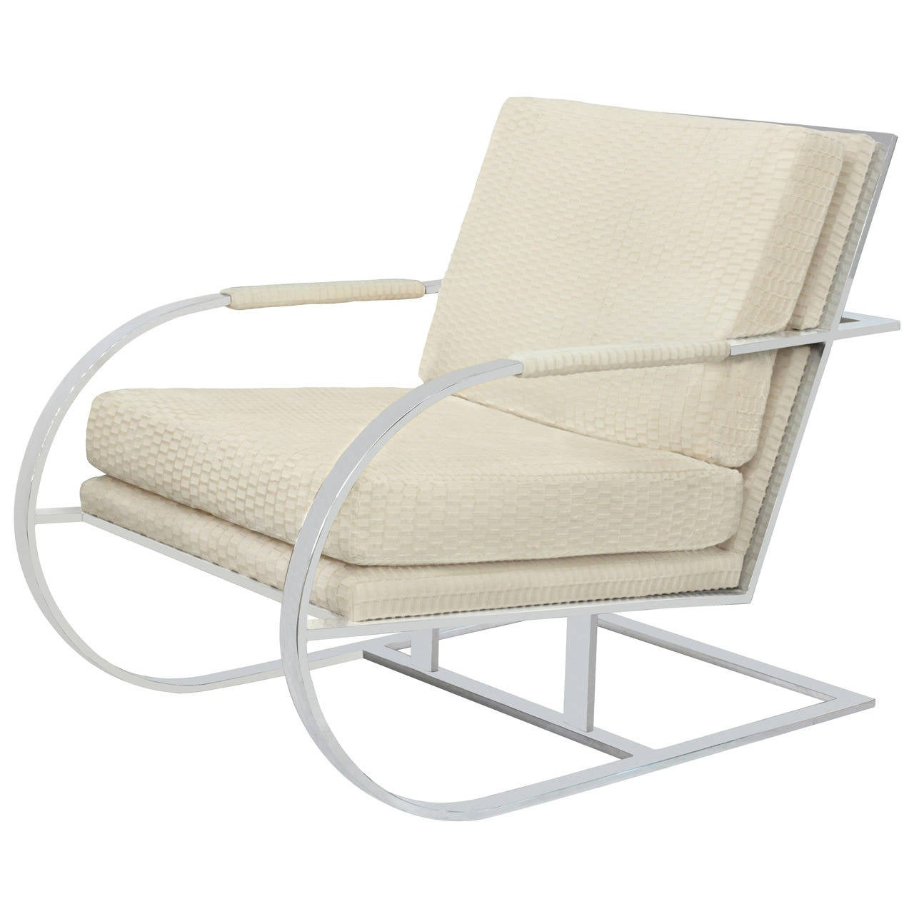Cantilevered Lounge Chair With Frame In Chrome By Milo