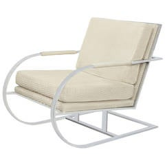 Cantilevered Lounge Chair with Frame in Chrome by Milo Baughman