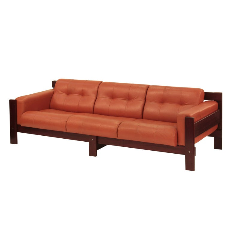 Percival Lafer Rosewood And Distressed Tufted Yellow: Sofa In Rosewood And Leather By Percival Lafer For Sale At