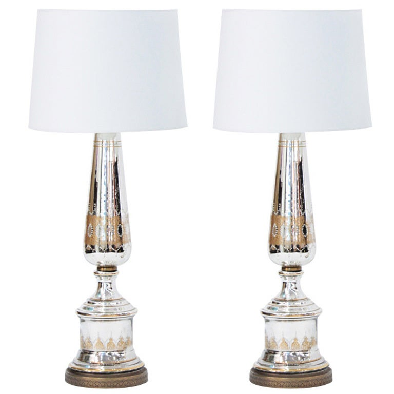 Pair Of Large Mercury Glass Table Lamps For Sale