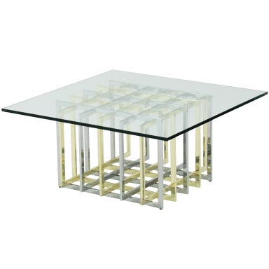 Architectural coffee table in chrome and brass by pierre for Architectural coffee table