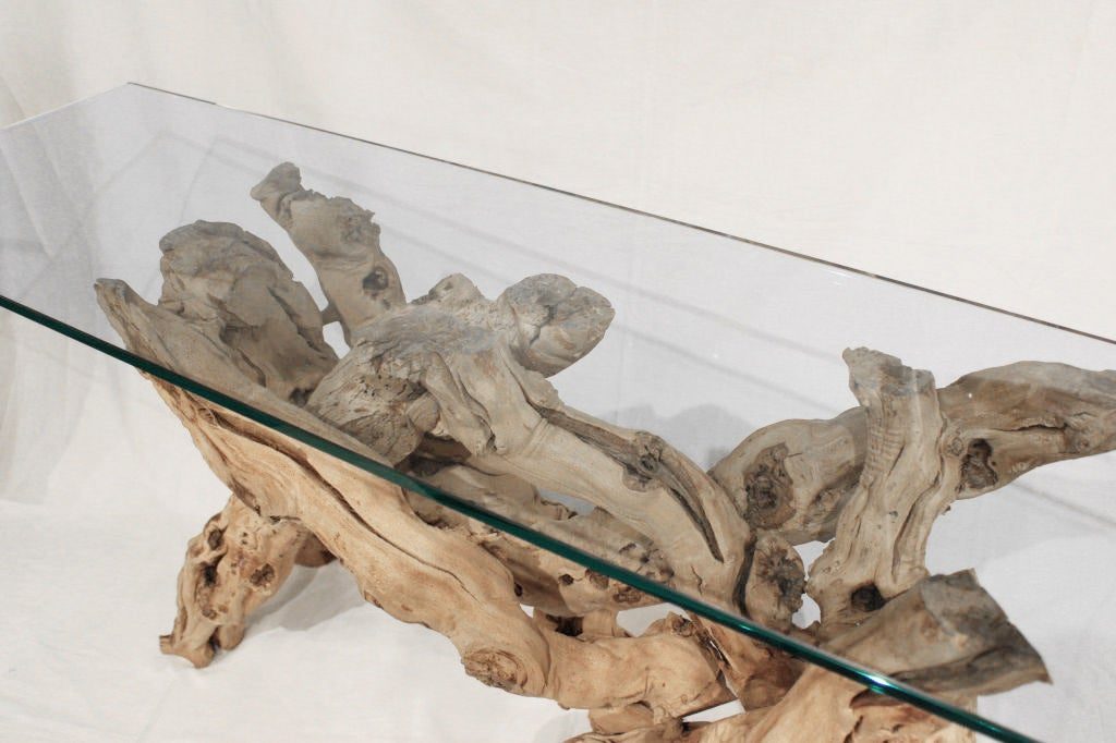 Sculptural Console Table In Driftwood With Glass Top At 1stdibs
