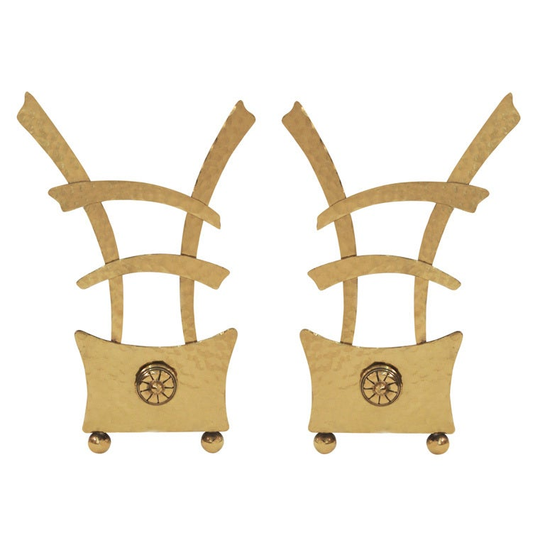 Pair of Chinese Style Modernist Andirons