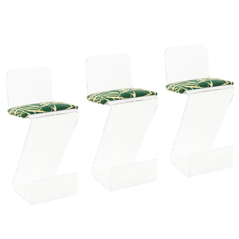 Set of Three Sculptural Lucite Bar Stools