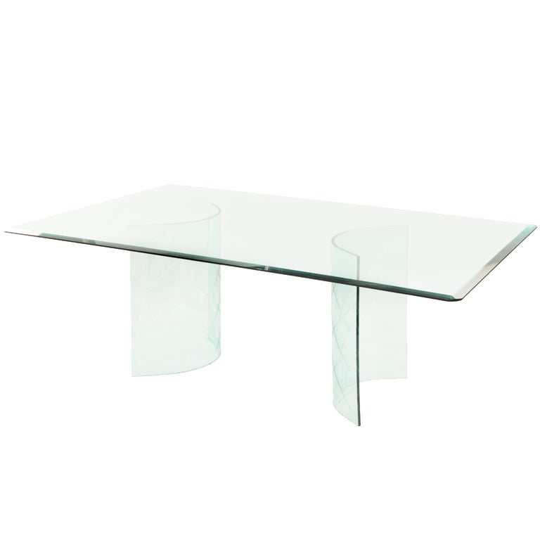 Dining Table With Etched Curved Glass Bases For Sale At