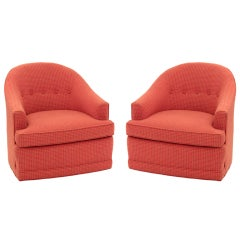 Pair of Chic Round Back Swivel Lounge Chairs