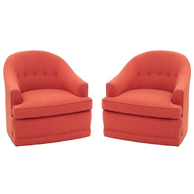Pair of Chic Round Back Swivel Lounge Chairs at 1stdibs