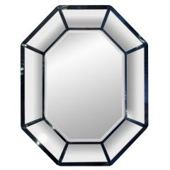 Large Blue Lacquer Mirror by Karl Springer