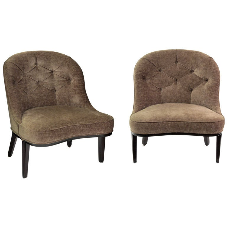 Pair of tufted slipper chairs by edward wormley at 1stdibs - Edward wormley chairs ...