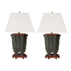 Pair of Chinese Bronze Urn Table Lamps