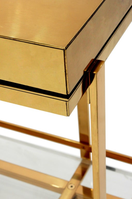 American Unique TV Stand in Brass and Lucite by Karl Springer For Sale