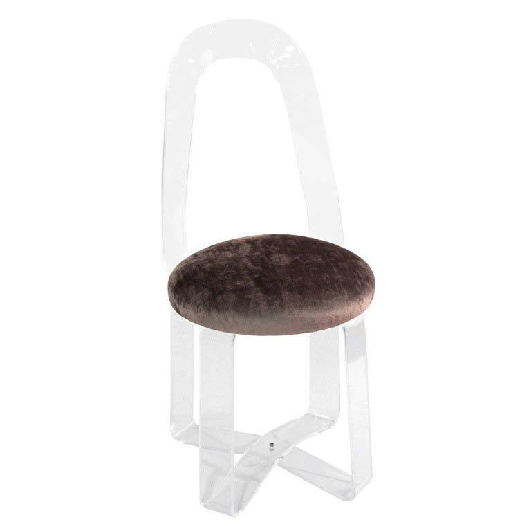 Lucite vanity chair with upholstered seat at 1stdibs - Acrylic vanity chair ...