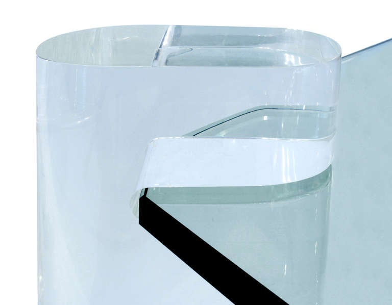 Thick Lucite Leg Coffee Table with Glass Top by Karl Springer 5