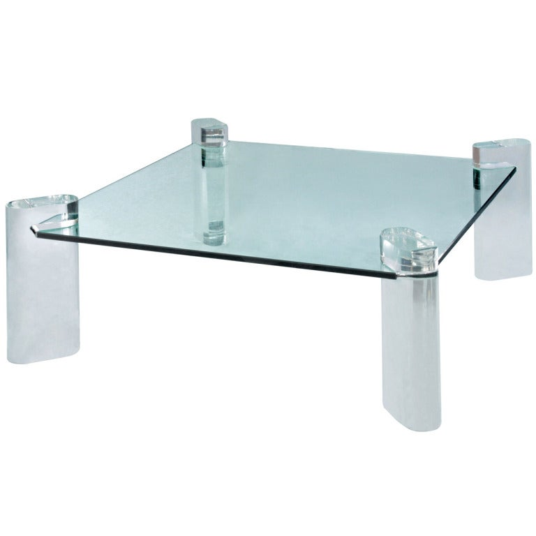Thick Lucite Leg Coffee Table With Glass Top By Karl Springer For Sale At 1stdibs
