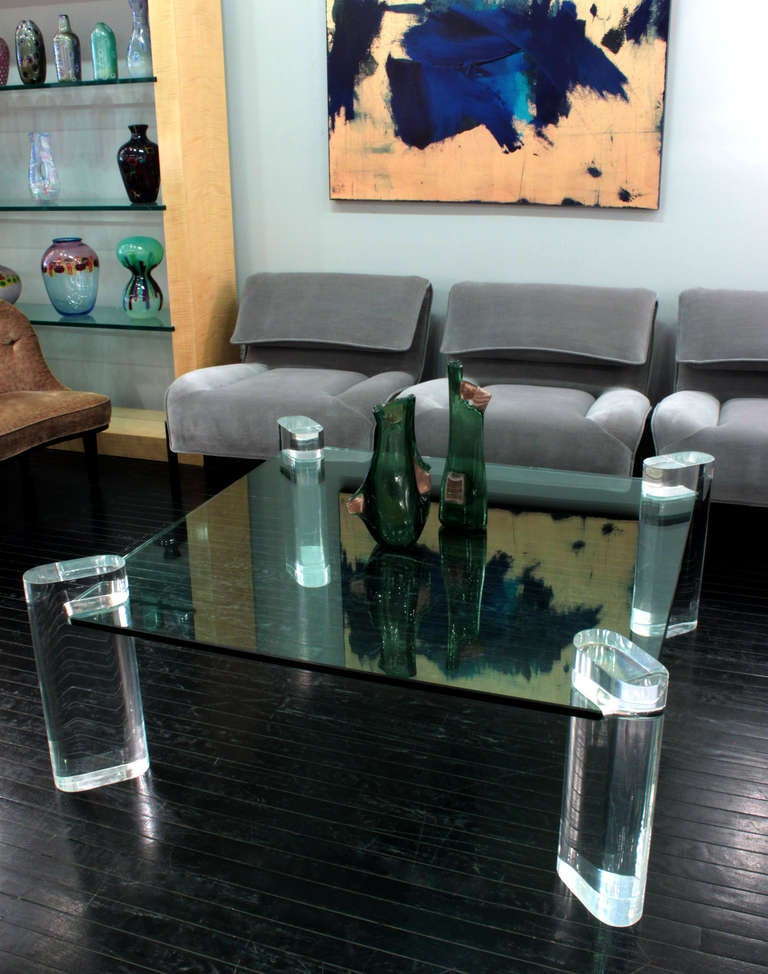 Thick Lucite Leg Coffee Table with Glass Top by Karl Springer For Sale 2
