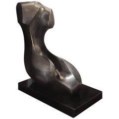 """Black Reflected Woman"" Sculpture in Polished Black Granite by Roberto Estevez"
