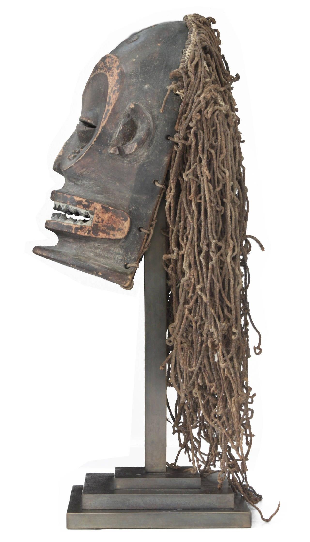 Mid-Century Modern Hand-Carved African Mask on Bronze Base by Karl Springer For Sale