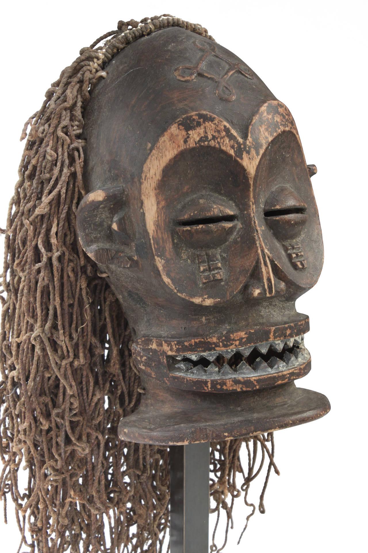 American Hand-Carved African Mask on Bronze Base by Karl Springer For Sale