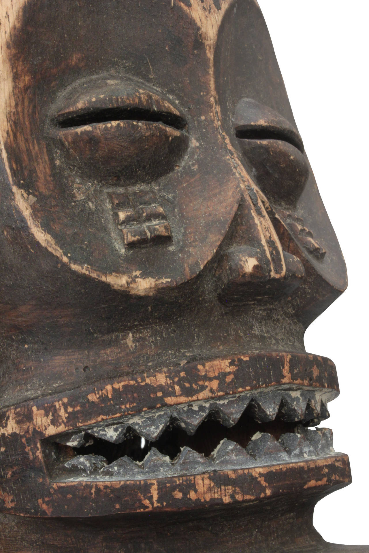 Hand-Crafted Hand-Carved African Mask on Bronze Base by Karl Springer For Sale