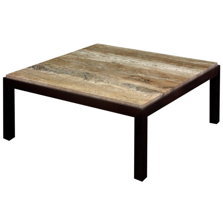 Coffee Table With Travertine Top By Edward Wormley At 1stdibs
