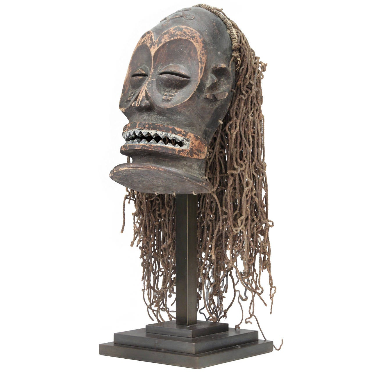 Hand-Carved African Mask on Bronze Base by Karl Springer