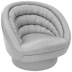 """""""Crescent Swivel Chair"""" in Gray Hermes Leather by Vladimir Kagan"""