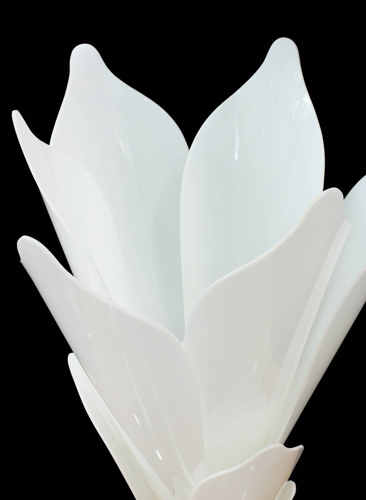 Flower Table Lamp With Molded White Lucite Petals By Rougier For
