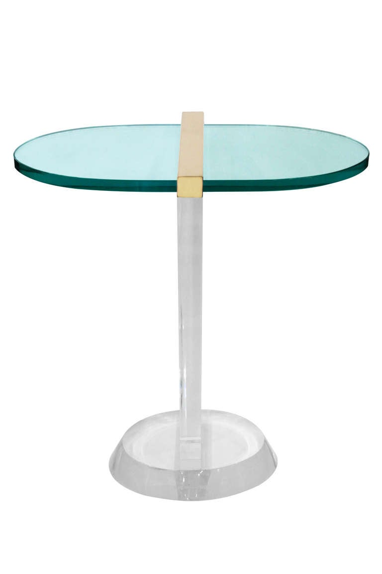 Side Table In Lucite And Glass By Les Prismatiques At 1stdibs