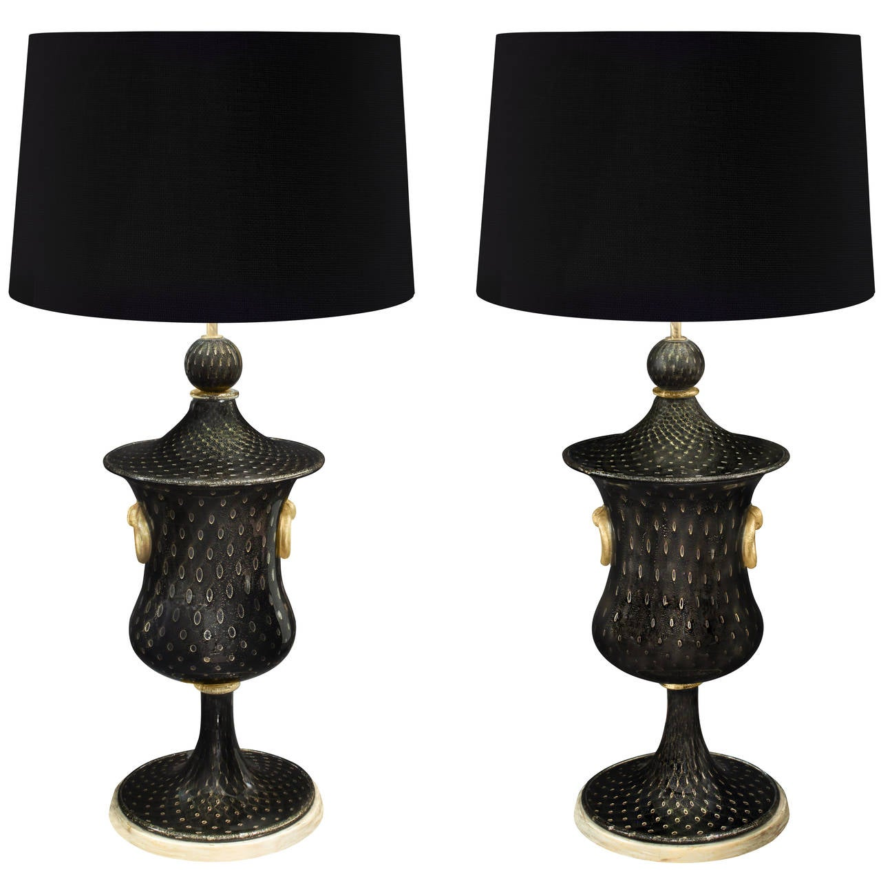 Barovier & Toso Pair of Monumental Handblown Glass Table Lamps, 1940s 1