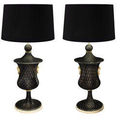 Barovier & Toso Pair of Monumental Handblown Glass Table Lamps, 1940s