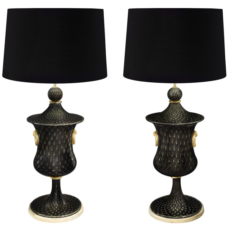 Barovier & Toso Pair of Monumental Handblown Glass Table Lamps, 1940s For Sale