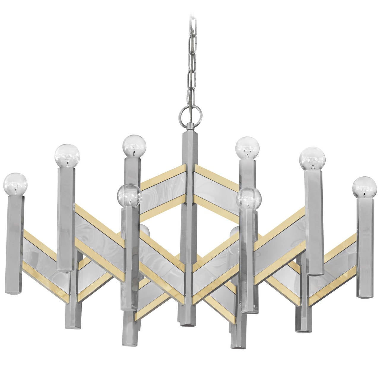 Elegant Chandelier in Chrome and Brass Accents by Sciolari For Sale