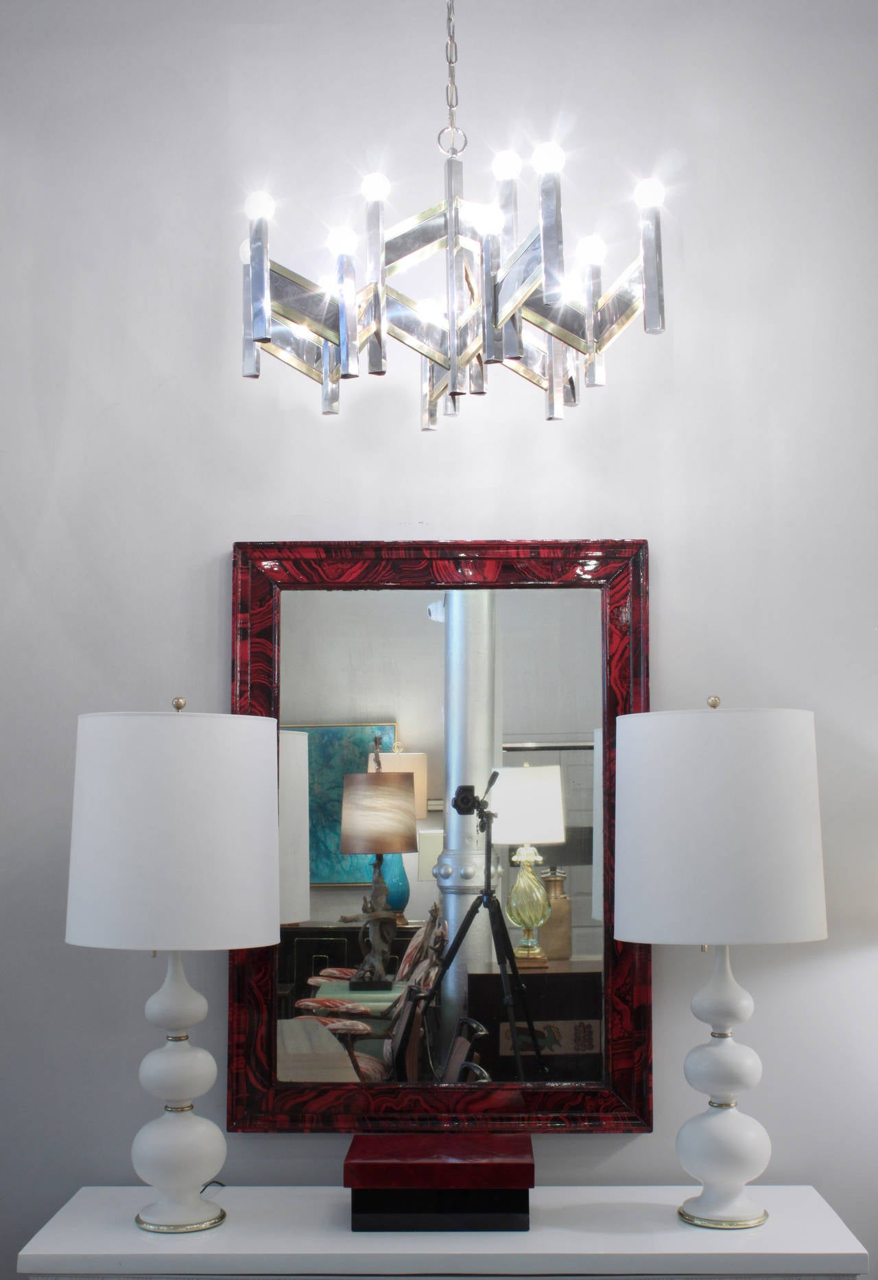Elegant Chandelier in Chrome and Brass Accents by Sciolari For Sale 2