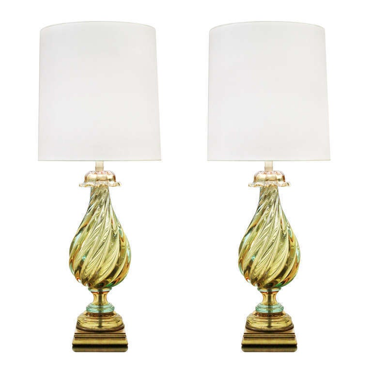 Pair of Impressive Handblown Glass Table Lamps by Seguso For Sale