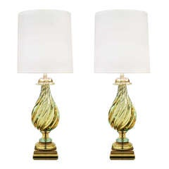 Pair of Impressive Handblown Glass Table Lamps by Seguso