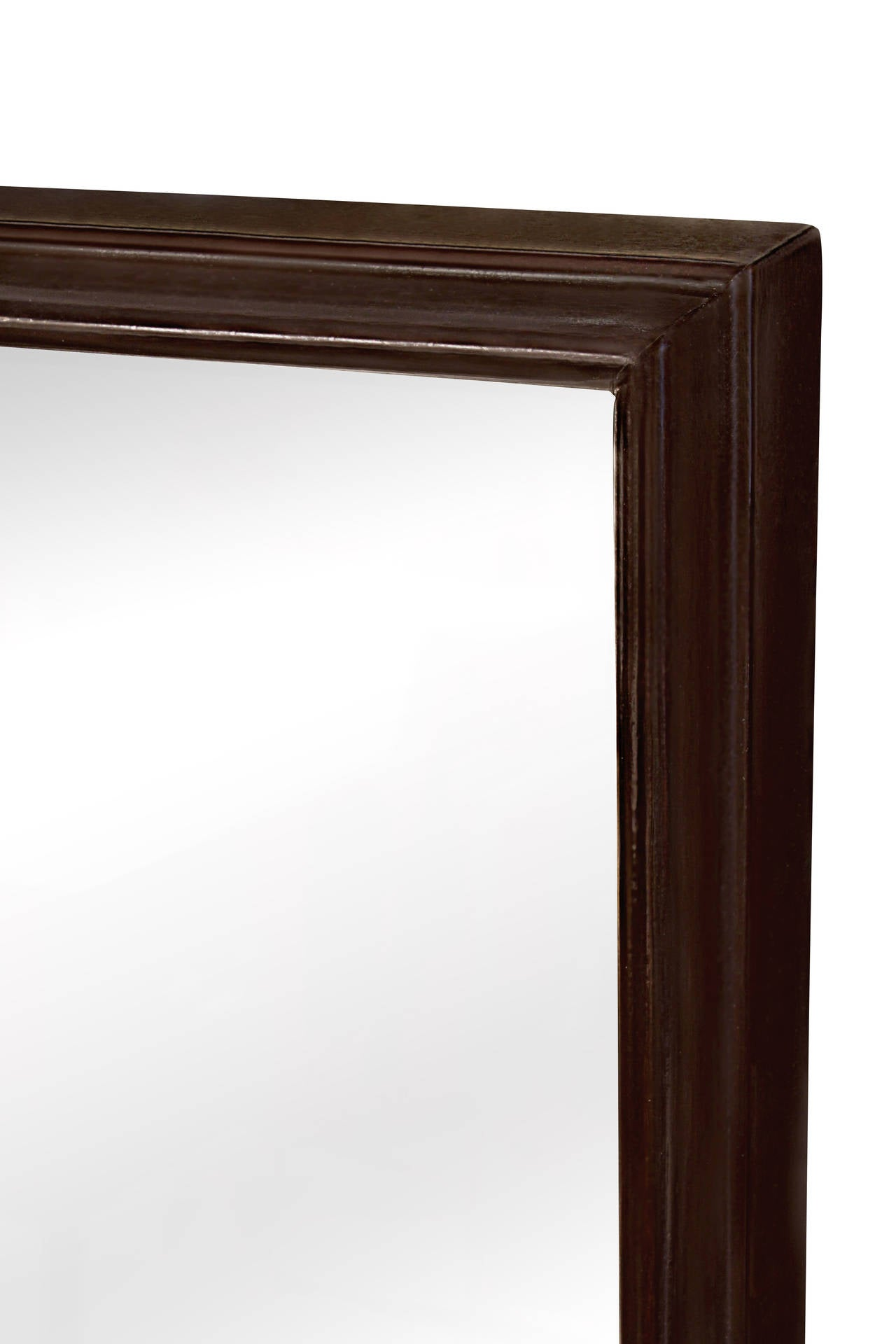 Elegant mirror in dark walnut with stepped frame by t h for Elegant mirrors