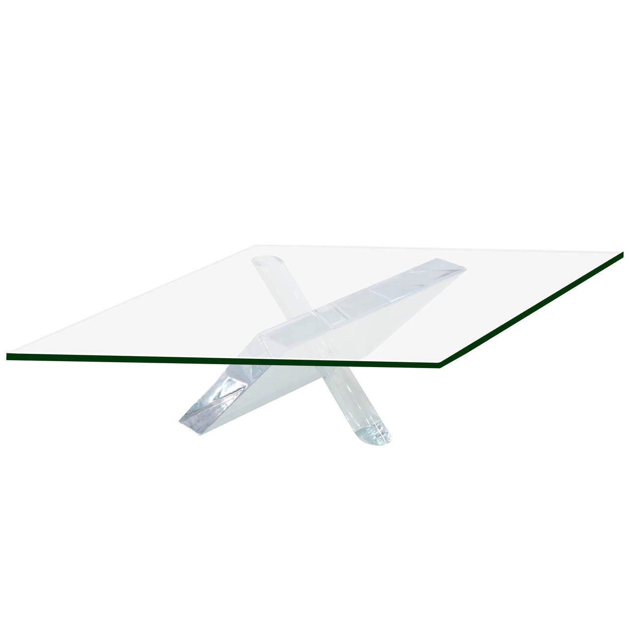 Sculptural Coffee Table with Thick Lucite Base