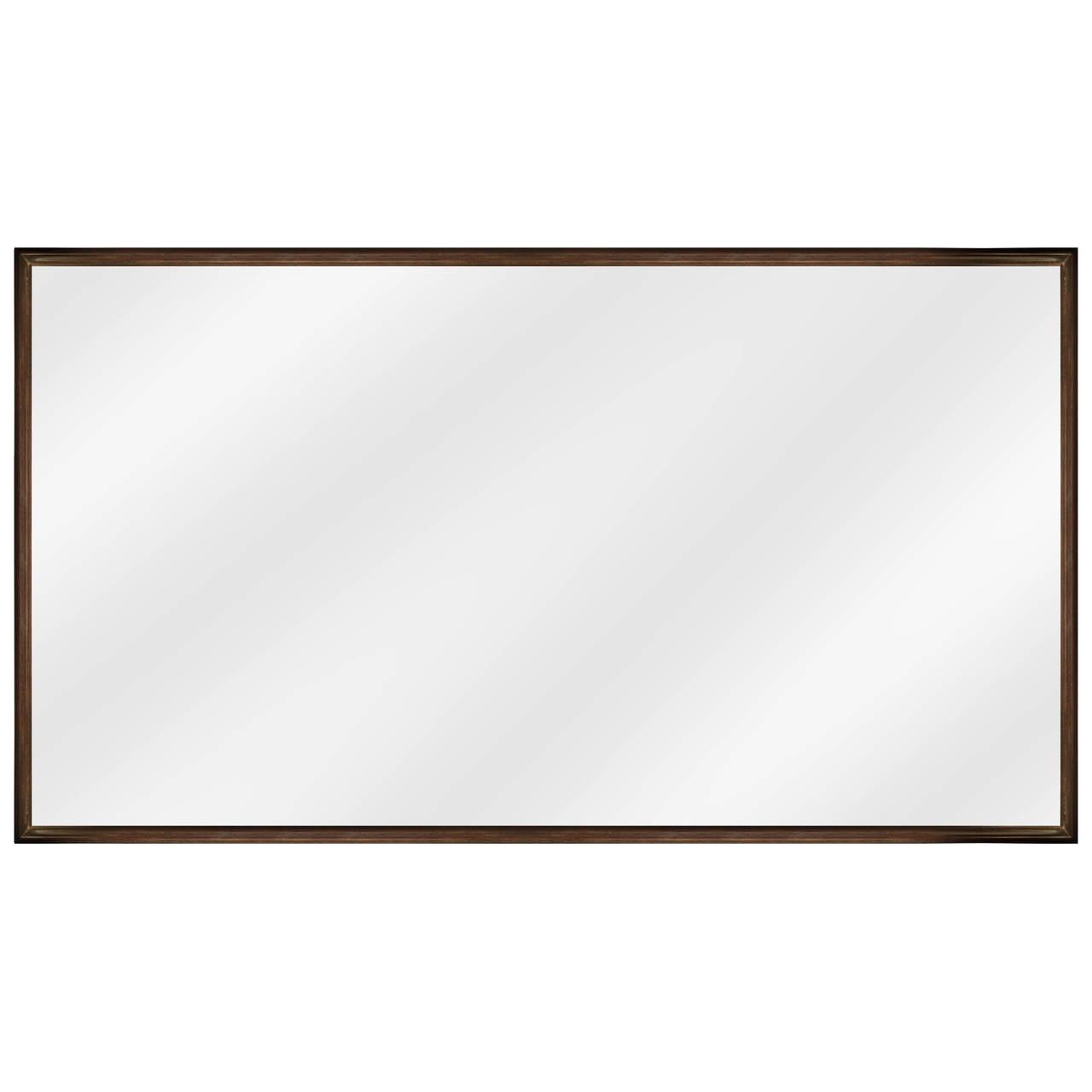 Elegant Mirror in Dark Walnut with Stepped Frame by T.H. Robsjohn-Gibbings