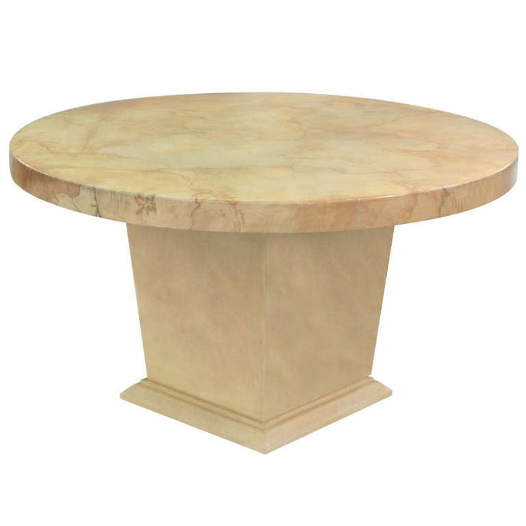 Dining or Hall Table in Lacquered Goatskin by Karl Springer
