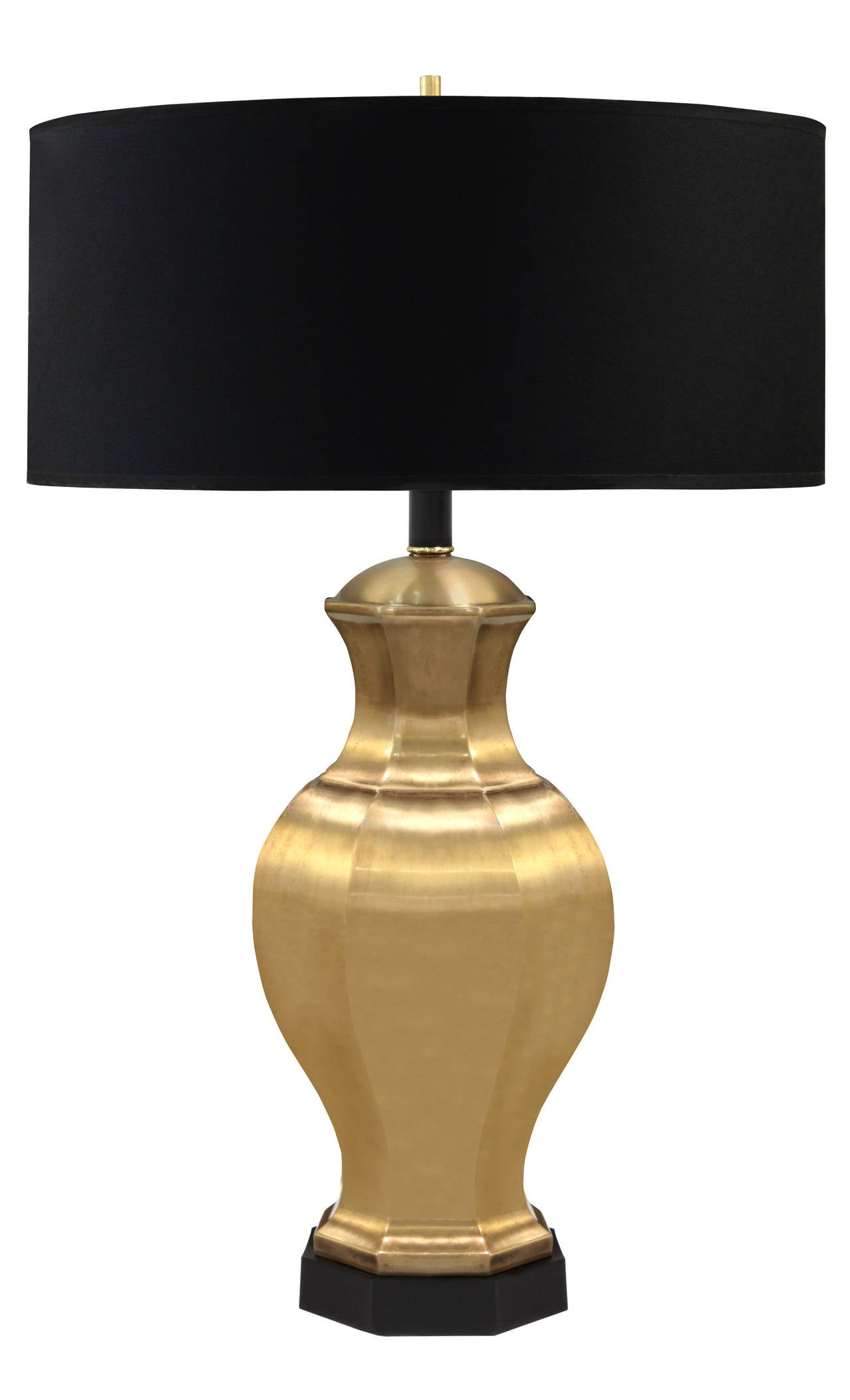 Pair of table lamps in satin brass with ebony base by Chapman Lighting, American, 1950s Shades pictured are 18 inches in diameter. The brass has been lacquered so it will not tarnish.